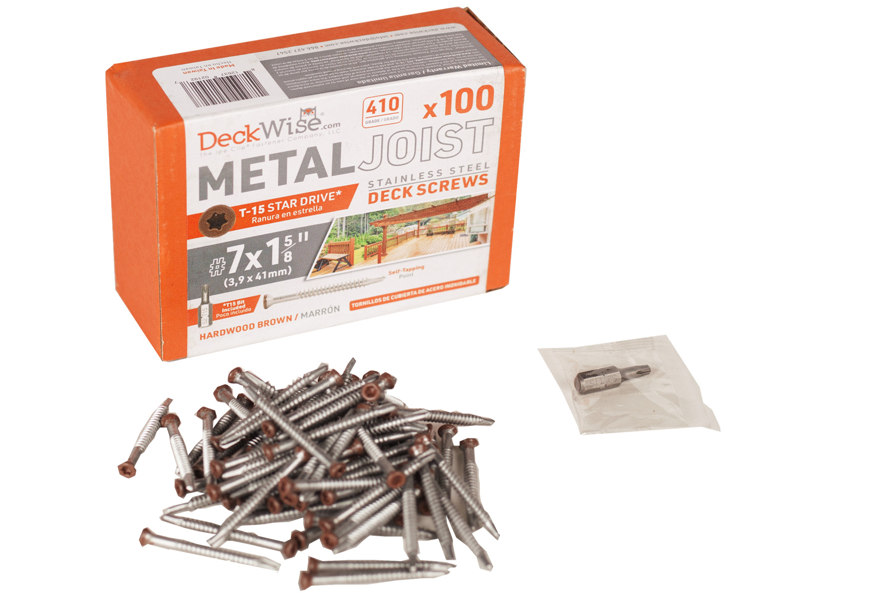DeckWise #7x1-5//8 Self-Tapping Screws for Metal Joists of Decking Ft 350 Pack 410 Stainless Steel T15 Deck Screws Cover 100 Sq